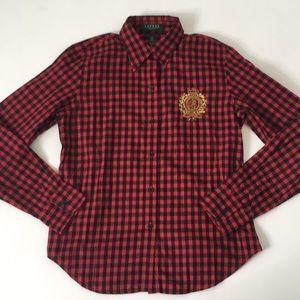 Ralph Lauren gingham red black shirt crest